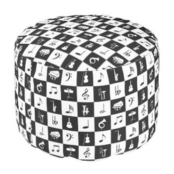 Contemporary black and white music notes ottoman