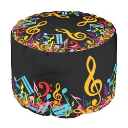 Personalized rainbow music notes round pouf