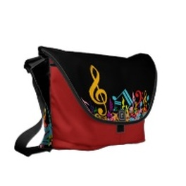 Mixed colorful music notes messenger bag