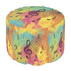 Bright abstract music paint splat pouf