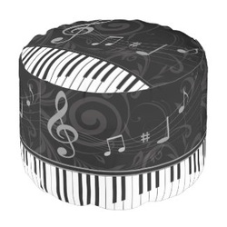 whimsical piano themed music notes pouf