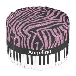 Pink faux glitter and piano keys round pouf