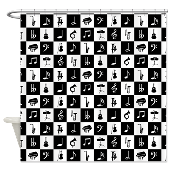 Stylish black and white music themed shower curtain