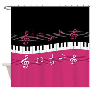 piano and musical notes rich pink and white shower curtains