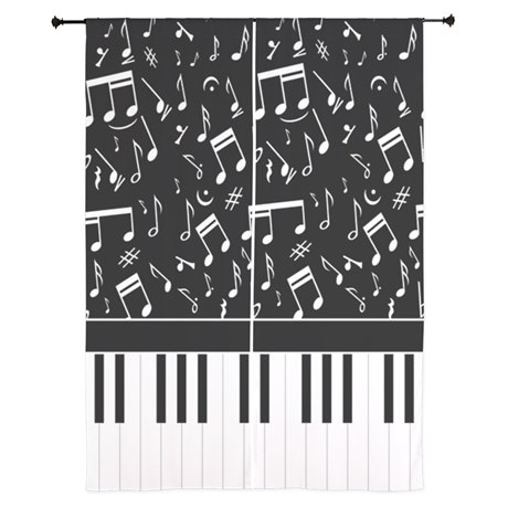 Ideal for the musician stylish black and white musical notes and piano keyboard Curtains