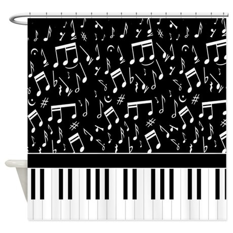 Ideal for the musician stylish black and white musical notes and piano keyboard shower curtain