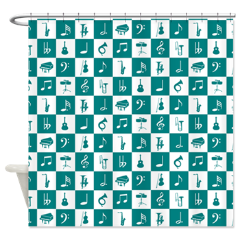 Music notes and instruments shower curtain
