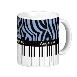 Zebra print and piano keys personalized mug