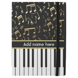 Piano keys and gold music notes ipad pro case
