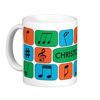 Personalized split complementary musical coffee mug