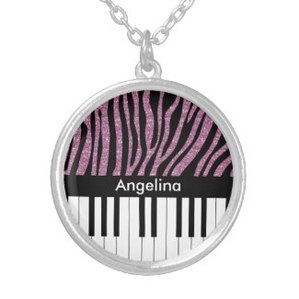 Fashionable zebra stripe name necklace