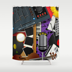Musical mash up shower curtains