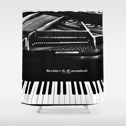 Cool monochrome piano shower curtain