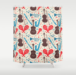 Music is everywhere shower curtain