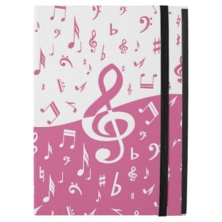 Girly Pink Music notes ipad pro case