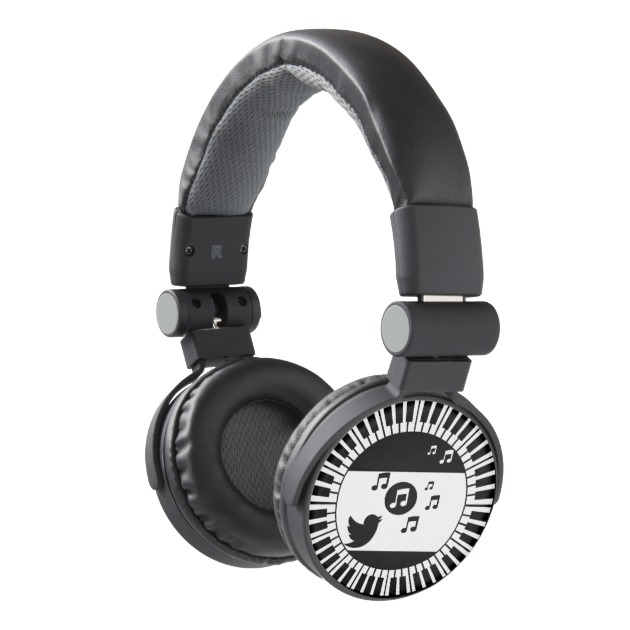 Singing bird in Piano keys circle Headphones