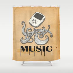 Funny isplash music shower curtain