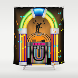 Retro jukebox jam shower curtain