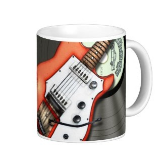 Retro guitar vinyl and mic mug