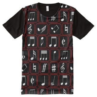 Cool Red black and white all over print music design t-shirt