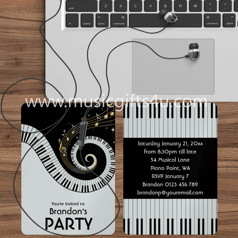 luxury metallic music birthday invitations