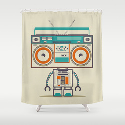 Robot music ghetto blaster curtain