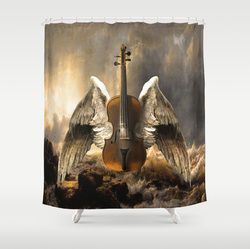 celestial, music, painting shower curtain