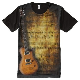 Guitar and vintage music score t-shirt