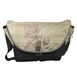 Vintage Pink rose and music sheet messenger bag