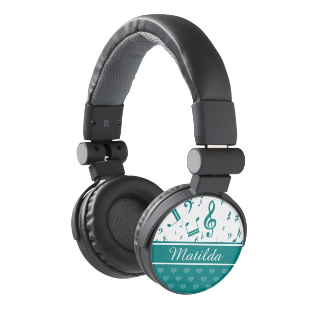 Personalized teal and white music designer headphones