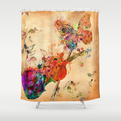 fantasy violin and butterfly shower curtain