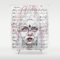 Butterfly and music notes shower curtains