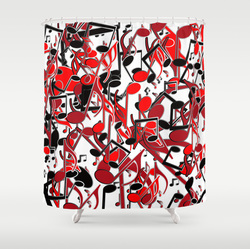 Vibrant red and black music curtain