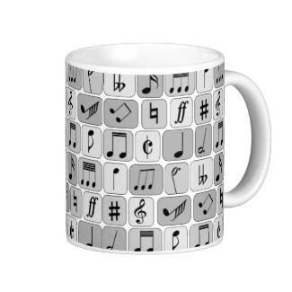 Stylish musical nothes themed tea mug for the musician