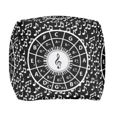 Music themed square poufs