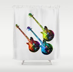 Pop art guitarsshower curtain