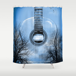Cool blue acoustic guitar shower curtain