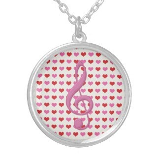 Pink treble clef and love hearts necklace