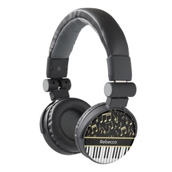 Piano keys and gold music notes headphones