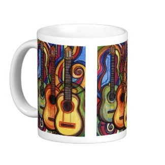 Guitar art coffee mugs for the guitarist