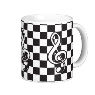 Retro look treble clef checker board diner coffee mug