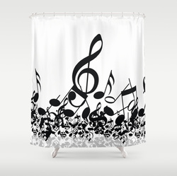 Stylish bw Music notes shower curtain