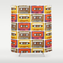 Retro Cassette tapes shower curtain