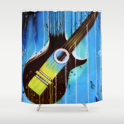 Cool blue weeping guitar shower curtain