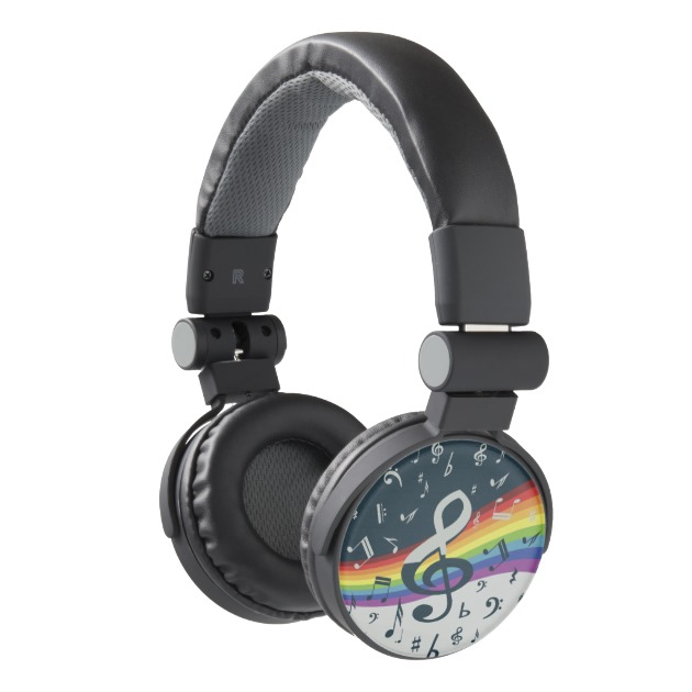 Treble Clef Wave Rainbow Colors Headphones