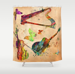 violin, viola, music, abstract... shower curtain