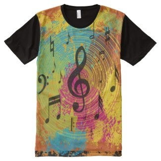 Abstract music designer t-shirt all over print