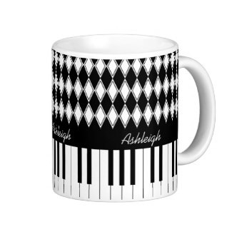 Piano keys and diamonds coffee mugs