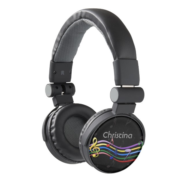 Personalized name Rainbow Colored Music Notes Headphones