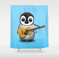 Cute guitar penguin shower curtain